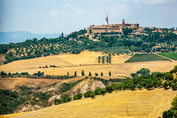 Tuscany Pienza skyline, Val d'Orcia Tuscany Italy pienza stock pictures, royalty-free photos & images