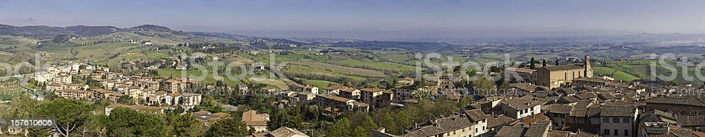 Tuscany picturesque hill town homes villas panorma San Gimignano Italy royalty-free stock photo