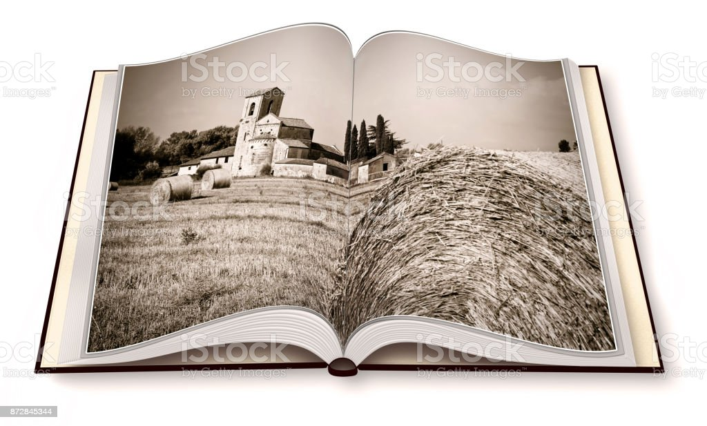 Tuscany romanesque church surrounded by a field of wheat on opened photobook - I'm the copyright owner of the images used in this 3D render. stock photo