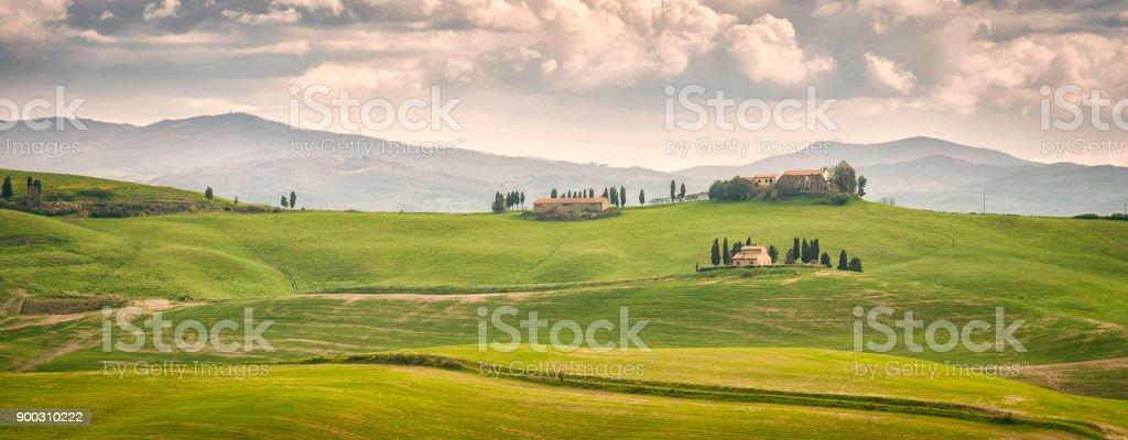 Tuscany rural landscape panorama stock photo