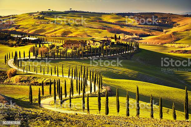Tuscany rural sunset landscape countryside farm white road an picture id503892838?b=1&k=6&m=503892838&s=612x612&h=fpofgvf7egijammne9c0 x4dy6kkihuizn4fc4d5rv8=