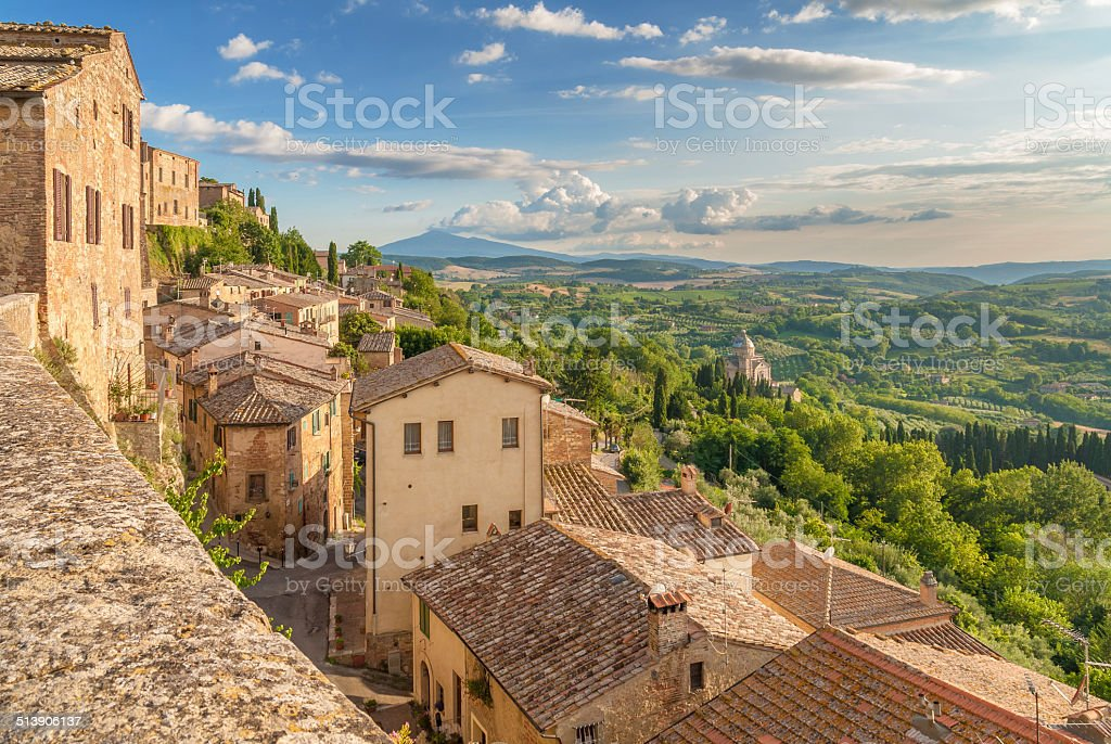 Tuscany seen from the walls of Montepulciano, I stock photo