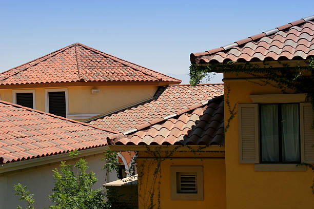 Tuscany style roof architectural detail stock photo