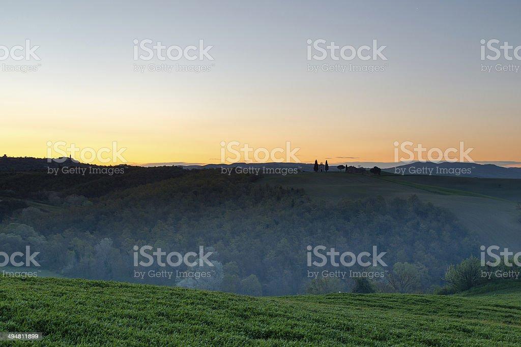 Tuscany sunrise over the hills Spring stock photo