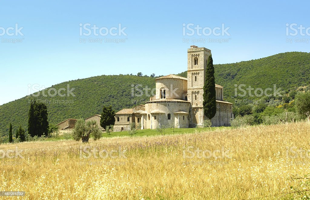 Tuscany tourism abbey Montalcino stock photo