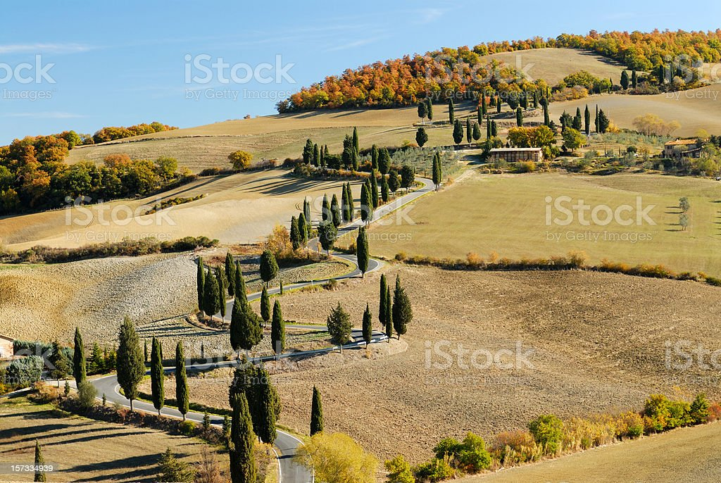 Tuscany, val d'Orcia landscape stock photo