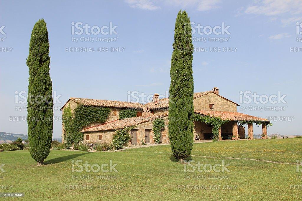 Tuscany Villa with Cypress Trees stock photo