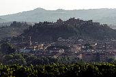 Tuscany village of Certaldo high at dawn