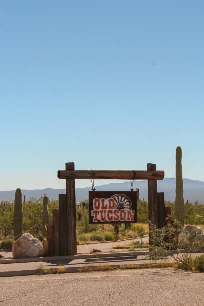 Tuscon Mountain Park sign stock photo