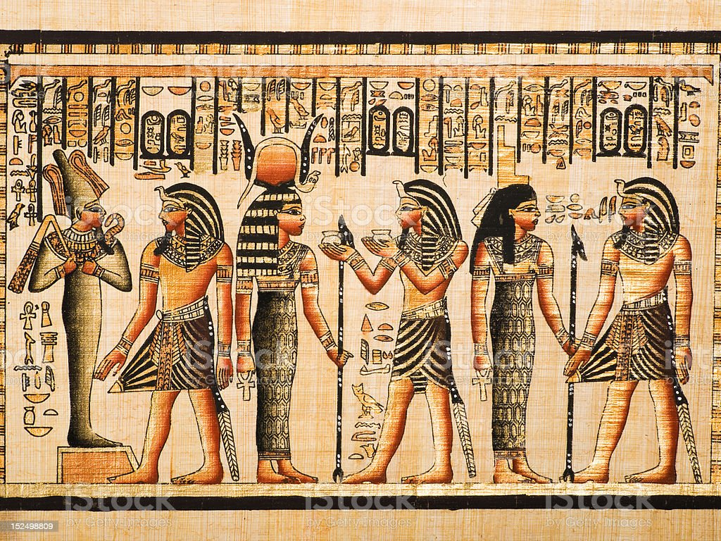 Tutankhamen, Osiris, Hathor and Isis in an Egyptian papyrus stock photo