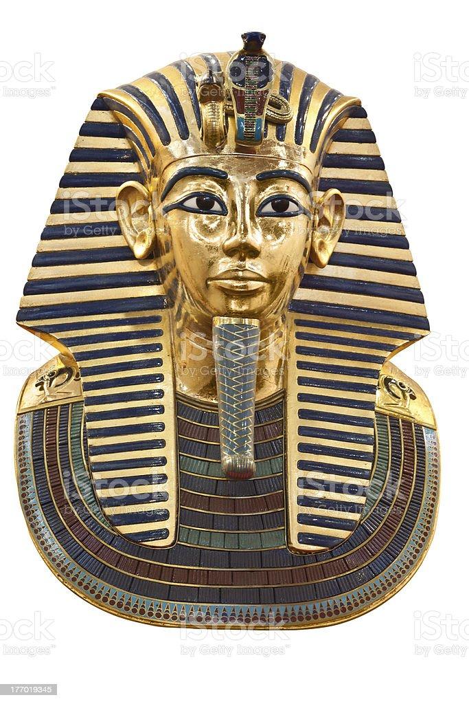 Tutankhamun's funerary mask on white stock photo