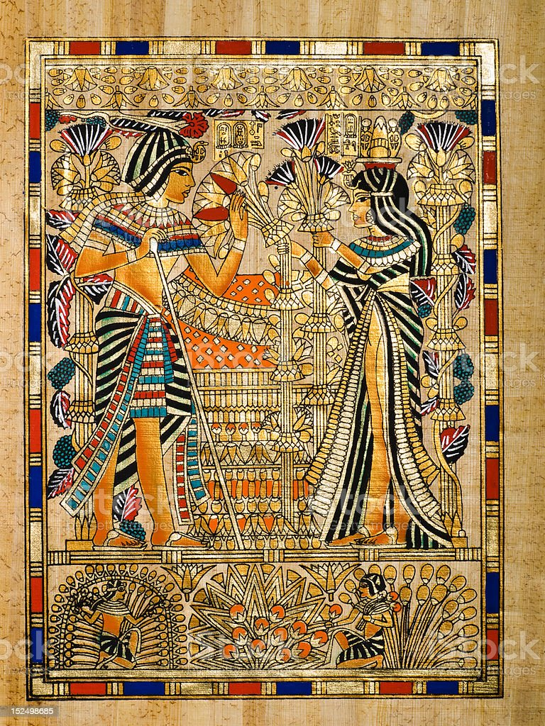 Tuthankamen and Queen Ankhesenamon in an Egyptian papyrus, stock photo