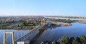 Khartoum, Sudan: Tuti Island, where the White Nile and Blue Nile merge to form the main Nile - Tuti bridge on Arbab Al Qaed Avenue - Khartoum North / Khartoum Bahri in the background