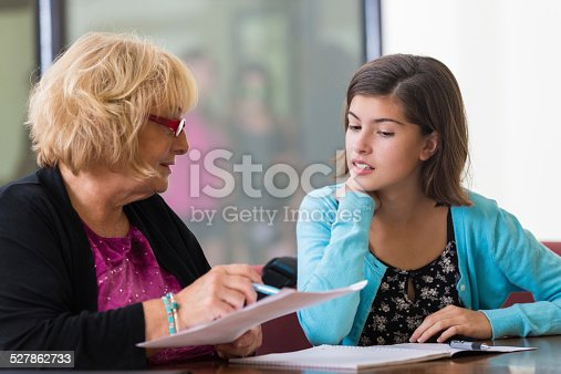 istock Tutor or school counselor meeting with junior high student 527862733