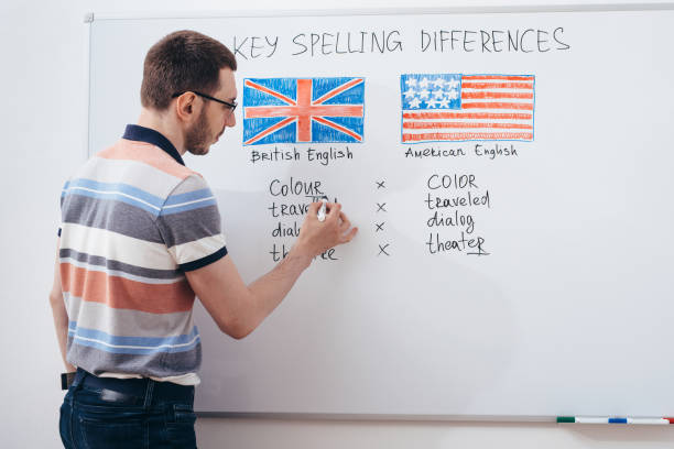 Tutor writing grammar on whiteboard. English language school. stock photo