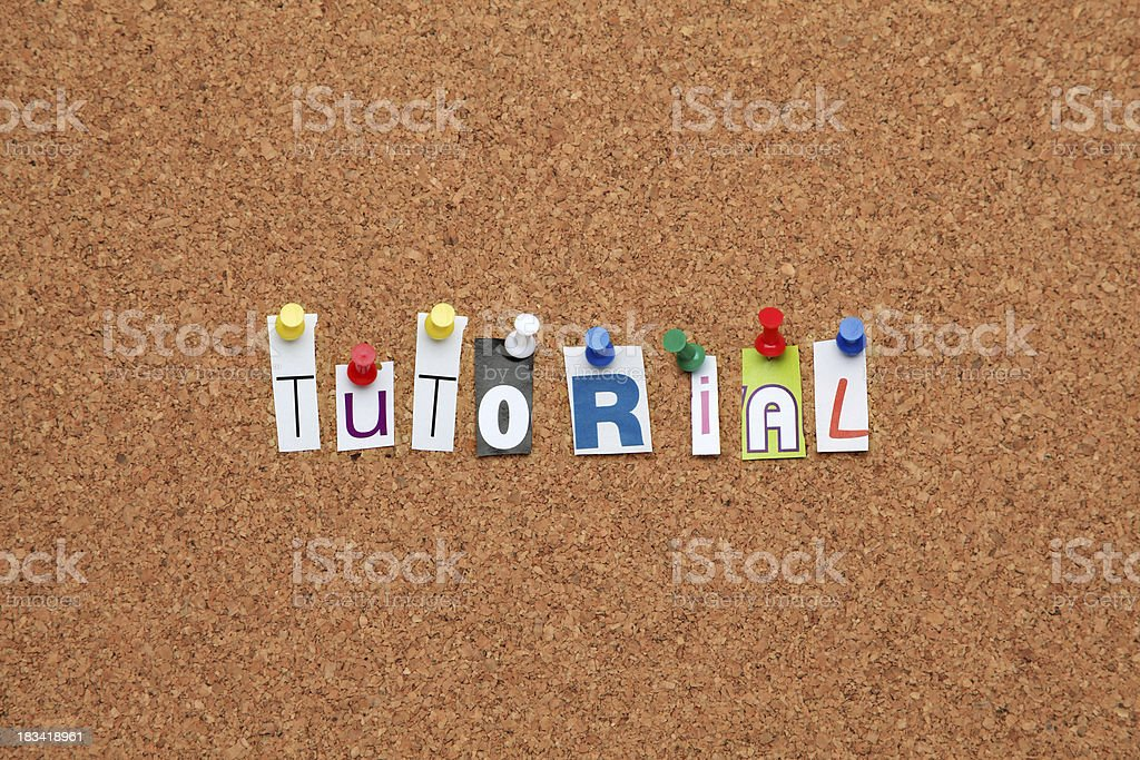 Tutorial pinned on noticeboard royalty-free stock photo