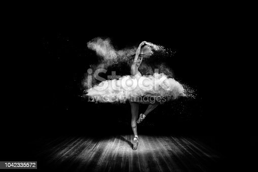 istock Tutu from powder. Beautiful ballet dancer, dancing with powder on stage 1042335572