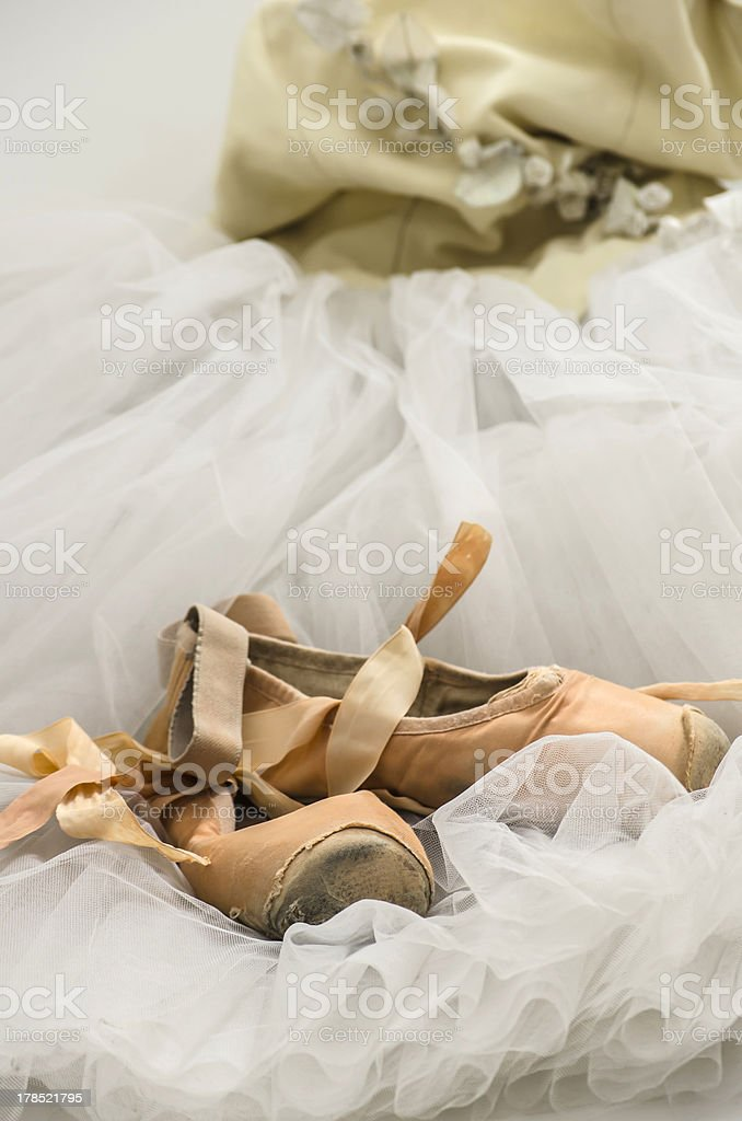 Tutu with ballet shoes royalty-free stock photo