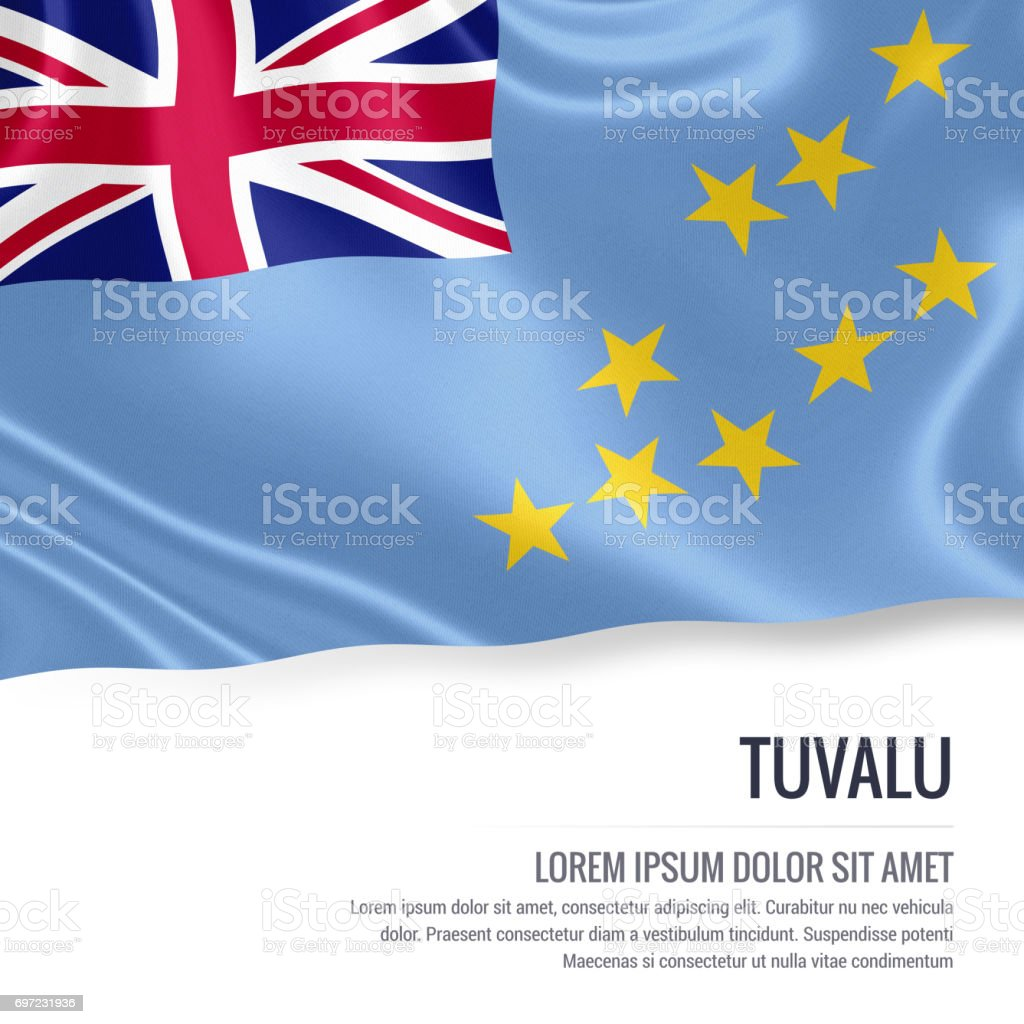 Tuvalu flag. Silky flag of Tuvalu waving on an isolated white background with the white text area for your advert message. 3D rendering. stock photo