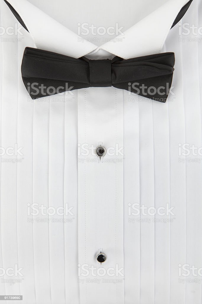 tuxedo shirt and bowtie stock photo