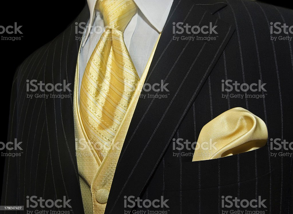 tuxedo with yellow tie royalty-free stock photo