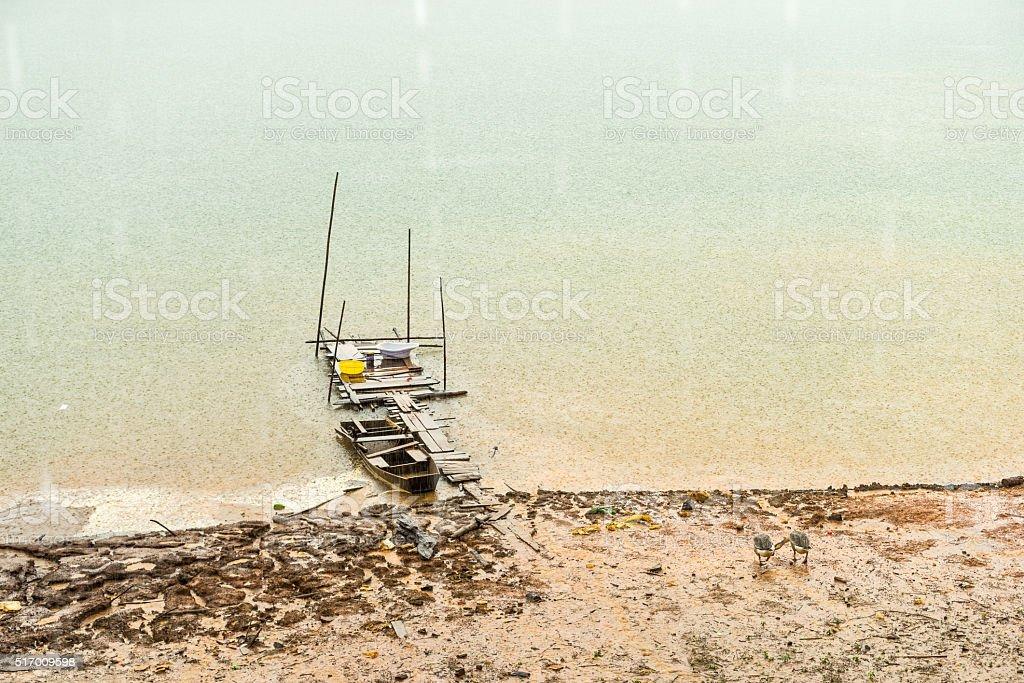 Tuyen Lam lake in rain, Dalat stock photo