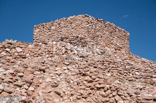 Stacked rock walls form the buildings at Tuzigoot National Monument in Clarkdale Arizona