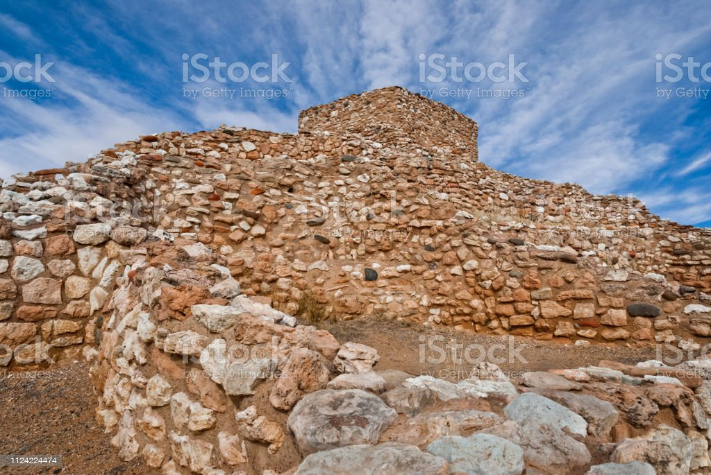 Tuzigoot Pueblo stock photo