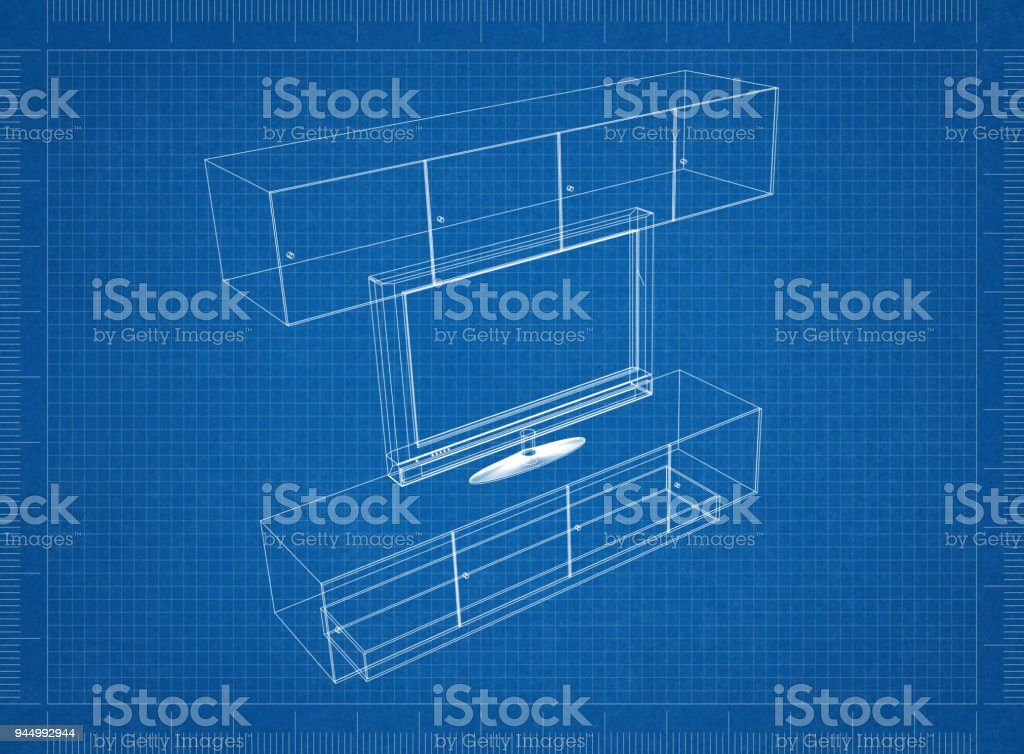 Tv And Furniture Blueprint Stock Photo Download Image Now Istock