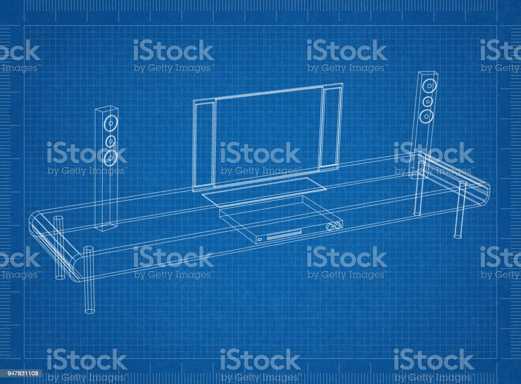 Tv and furniture blueprint stock photo more pictures of apartment tv and furniture blueprint royalty free stock photo malvernweather Image collections