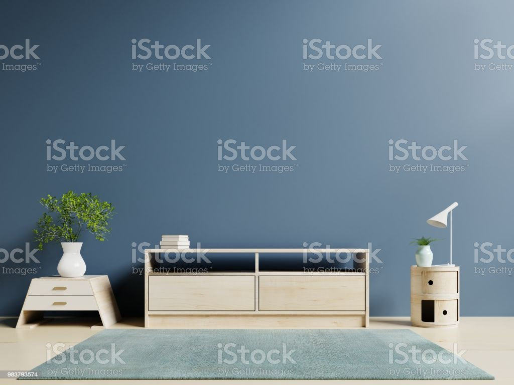 Tv Cabinet In Modern Empty Room And Dark Wall Background