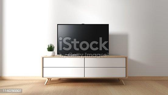 istock Tv cabinet in modern empty room Japanese - zen style,minimal designs. 3D rendering 1140293307