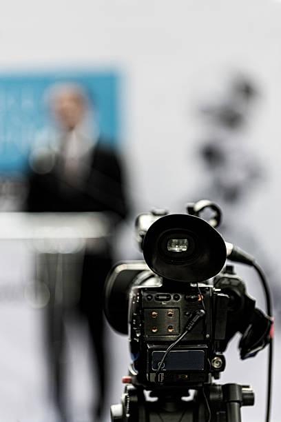 Tv cam recording publicity event stock photo