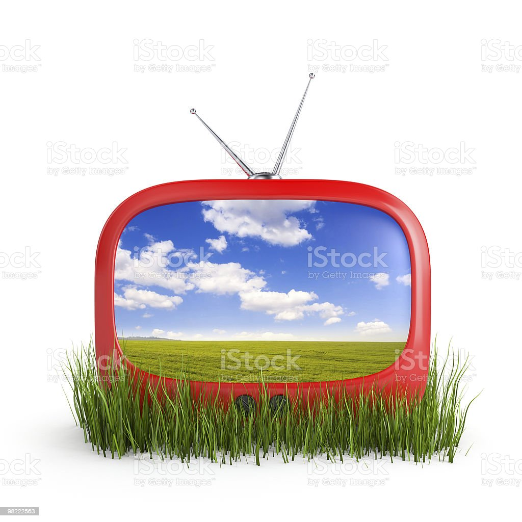 Tv in grass royalty-free stock photo