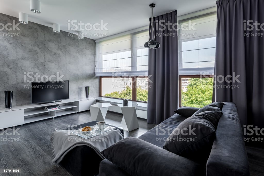 Tv living room with couch royalty-free stock photo
