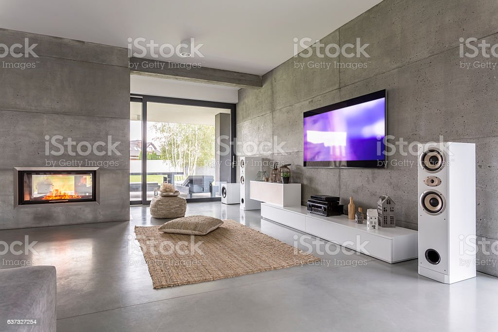 Tv living room with window foto stock royalty-free