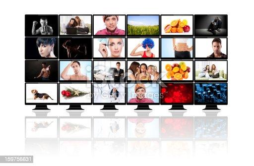 TV panels. Television media production technology concept. Spy Surveillance panel concept
