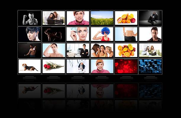 panel de medios de televisión - foto de stock