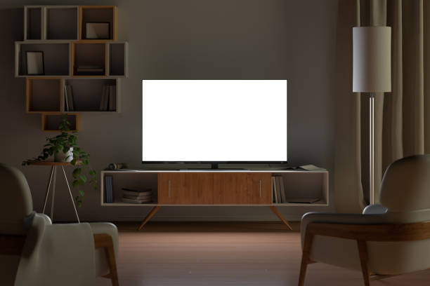 tv mockup in living room at night. tv screen, tv cabinet, chairs, bookshelf - televisor imagens e fotografias de stock