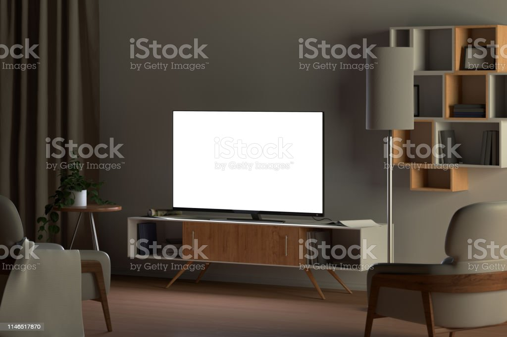 Tv mockup in living room at night. Tv screen, tv cabinet, chairs,...