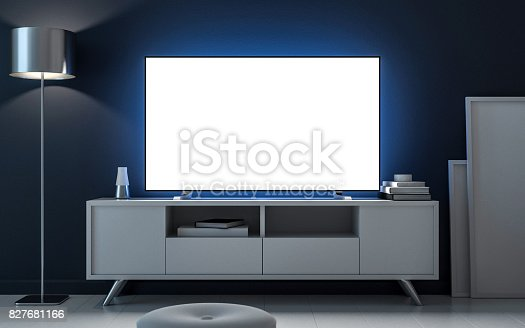 Tv mockup with blank white screen on bureau, evening room. 3d rendering