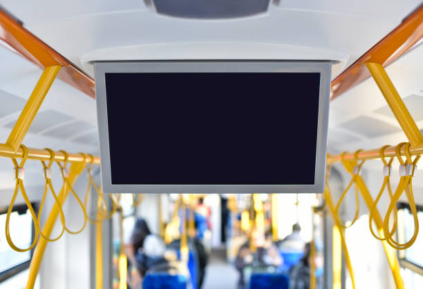 tv monitor in city public transport stock photo