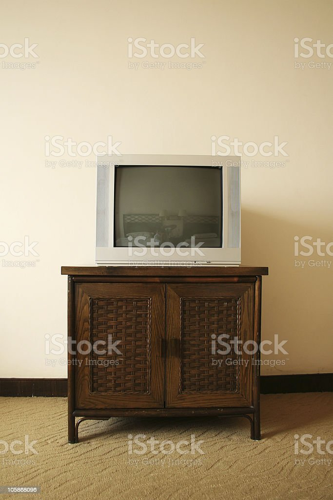 tv on cabinet in hotel royalty-free stock photo