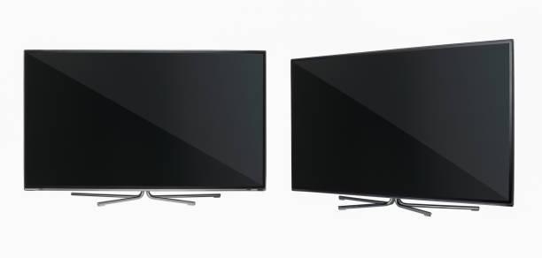 tv auf weißem hintergrund - winkel stock-fotos und bilder