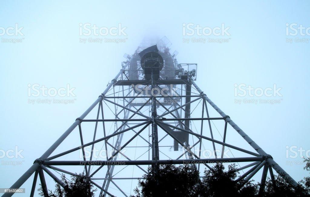 tv radio tower stock photo
