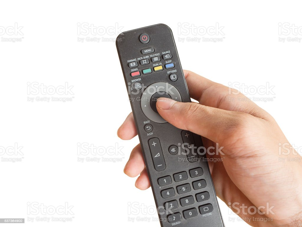 Tv Remote Control On White Background Stock Photo - Download Image Now
