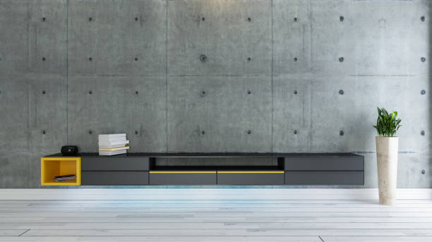 tv room, salon or living room with covered concrete wall stock photo