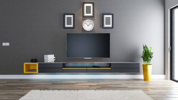 tv-raum, salon oder wohnzimmer mit überdachter tapete wand - zeitschrift wandkunst stock-fotos und bilder