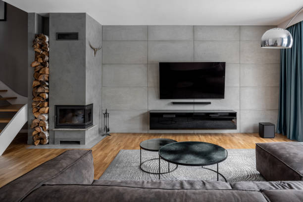 Tv room with cement wall stock photo