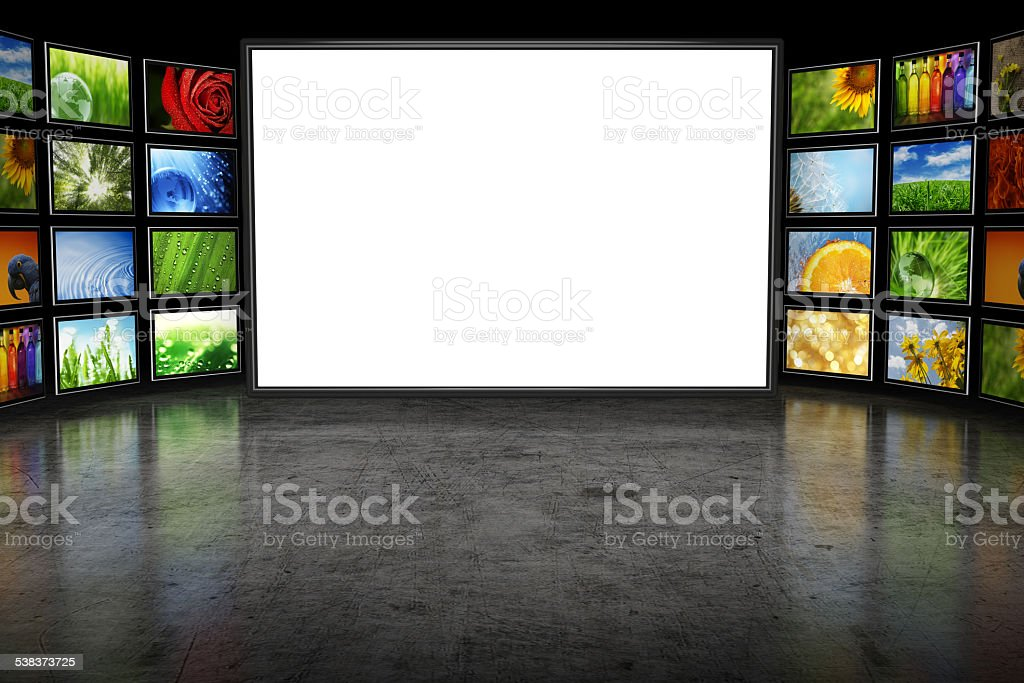 Tv screeen with images stock photo